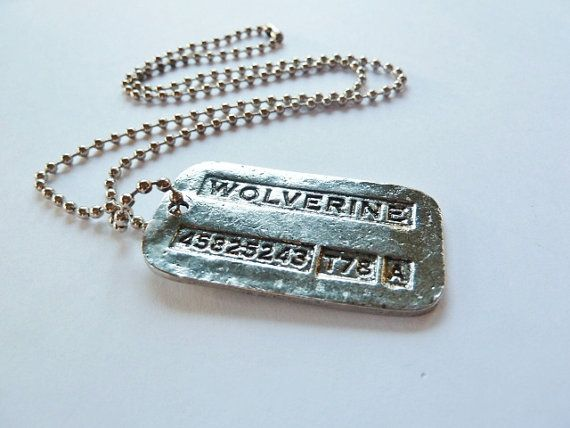 Wolverine Dog Tag Necklace Metal Pendant Logan by JustinePaige