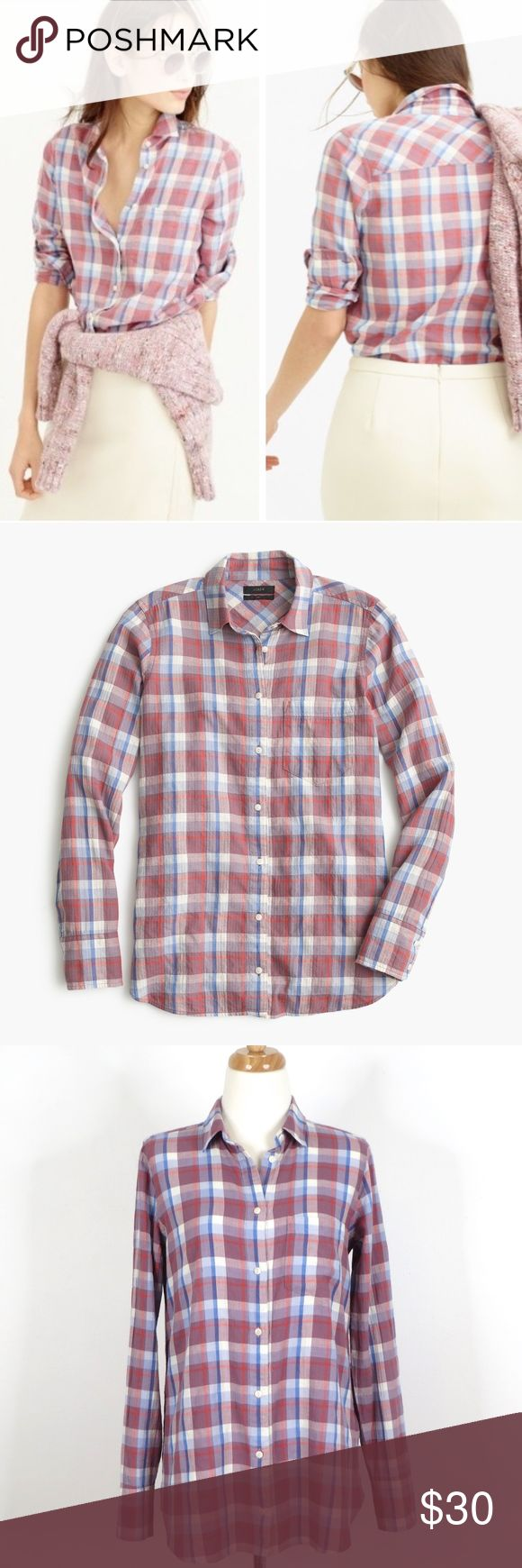 """J CREW Possibly new without tags and no defects.  Style name: Boy Shirt in Dawson Plaid.   From J Crew website: Featuring a boyfriend-inspired fit that's tailored especially for you, plus a crinkled lightweight flannel fabric that's perfect for right now.  Red blue purple white checkered plaid print, full button down front, long sleeves, 99% cotton / 1% elastane, machine wash. Approximately 19.25"""" across armpit seam to armpit seam and 28.5"""" long.   Automatically reduce price 20% for 3…"""