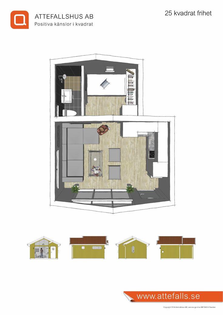 Modernt attefallshus med traditionellt sadeltak. Luftig innermiljö med genereöt ljusinsläpp. Effektiv planlösning för ett behagligt boende.