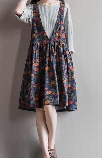 Women loose fit over plus size orange flower dress flax linen blouse pocket cjoc #Unbranded #dress #Casual