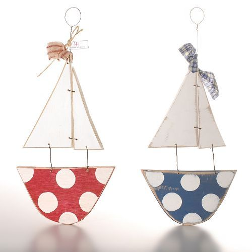 These cute little shabby chic #sailboats make a great gift. #Handpainted and distressed these wooden boats add a nautical touch to your home and can be hung indoors or outside by their pretty homespun ribbon.