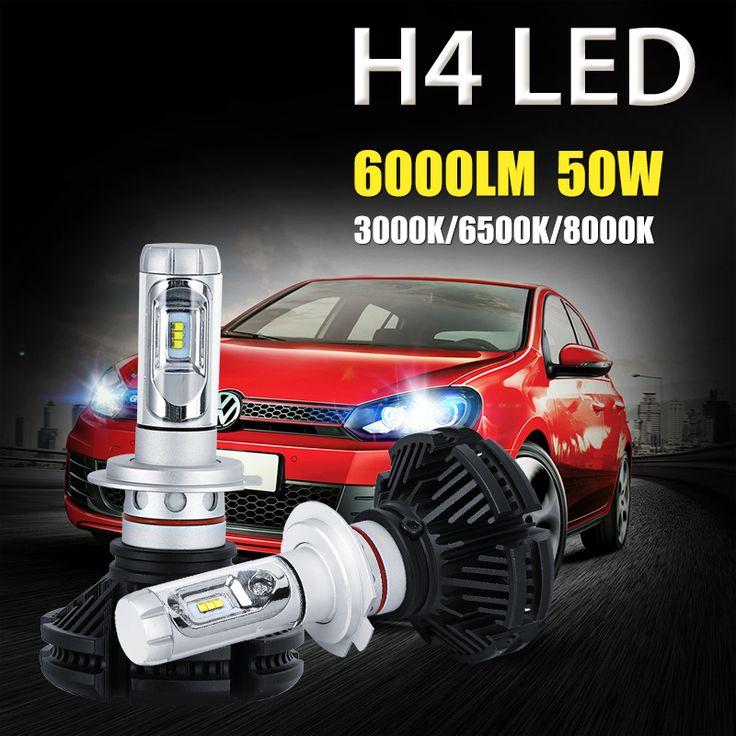 Oslamp H4 50W High Low Beam LED Car Headlight Bulb 6000lm CREE CSP Chips 3000K/6500K/8000K Auto Led Headlamp Fog Light 12v 24v