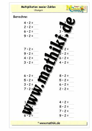 Einmaleins mit 2 - ©2011-2016, www.mathiki.de - Ihre Matheseite im Internet #math #multiplikation #multiplication #arbeitsblatt #worksheet