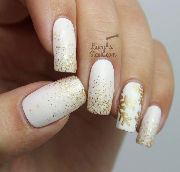 Festive White and Gold Glitter Gradient & Snowflake Nails
