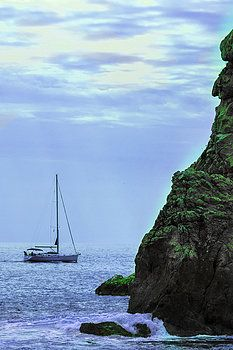 A Lone Sailboat Floats On A Calm Sea by George Westermak#George Westermak#FineArtPrints#travel#Croatia