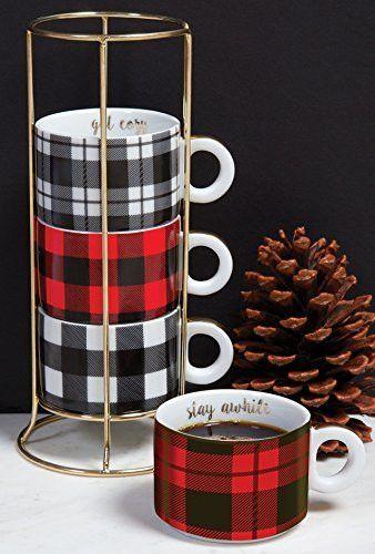 Red White Black Plaid Mug Set with Holder