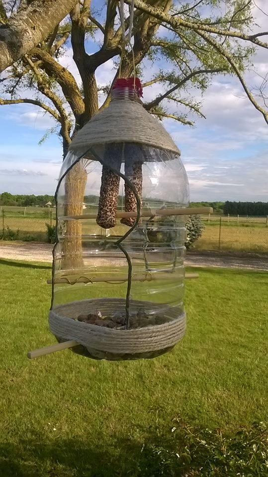 Mangeoire d'oiseaux, bouteille recyclée