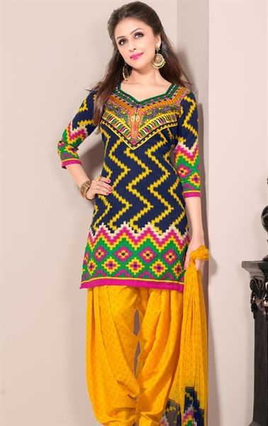 Picture of Stunning Blue and Yellow Designer Patiala Suits