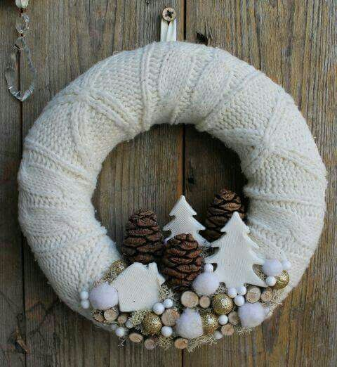 Beautiful neutral-colored minimalist wreath.  A mix of natural textures.
