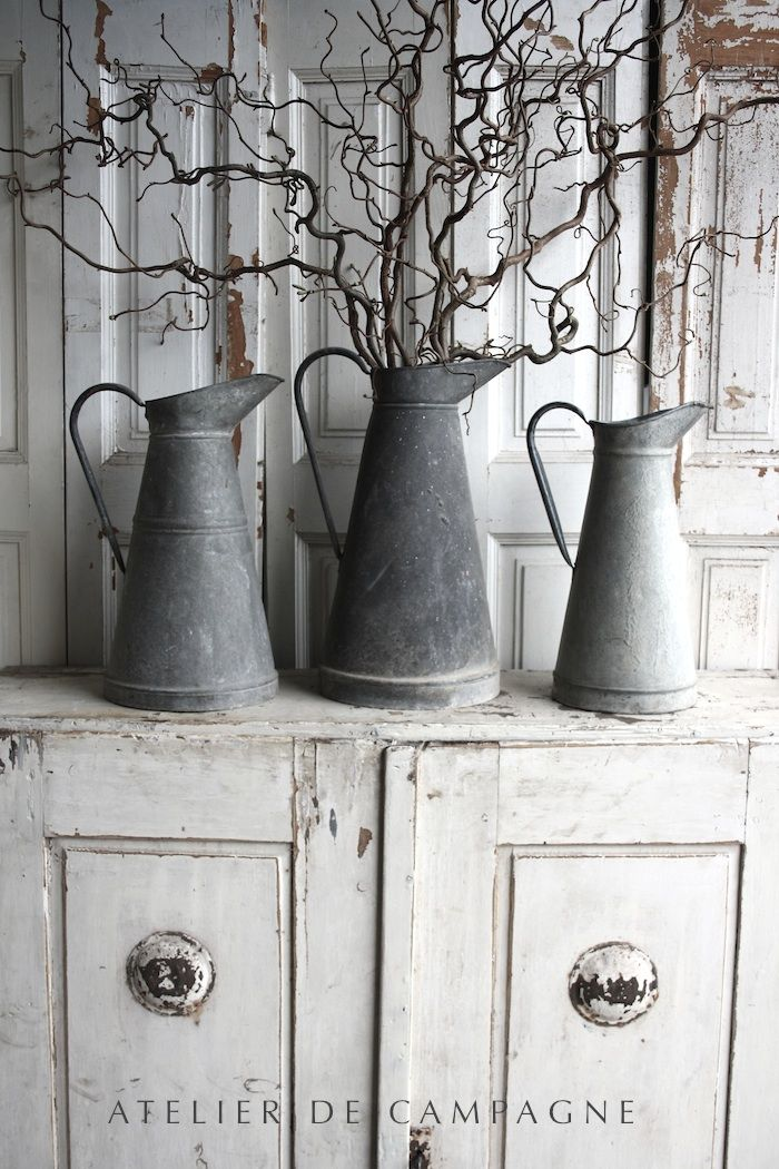 ✣ French Country Farmhouse ✣  Zinc Pitchers #antiques,#collectables, #furniture,