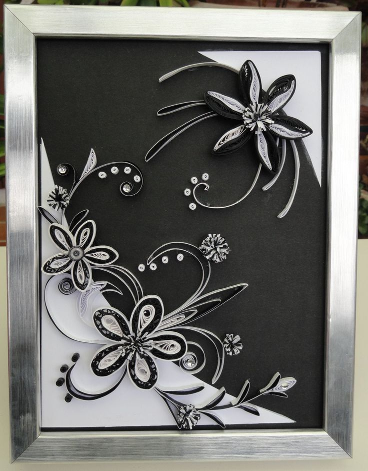 Les 25 meilleures id es de la cat gorie quilling fleurs - Tableaux noir et blanc ...