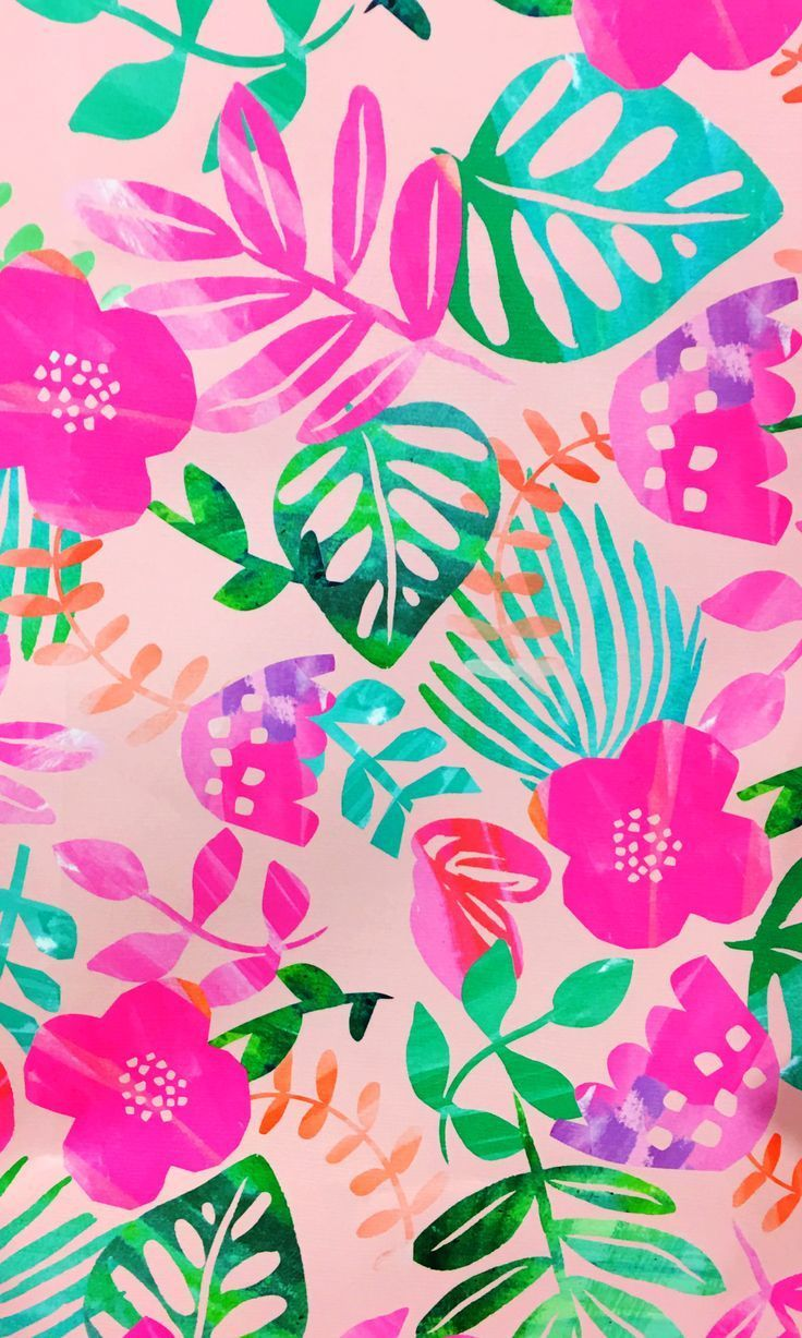 Bright Tropical Flora Pattern Iphone Wallpaper Pattern Phone