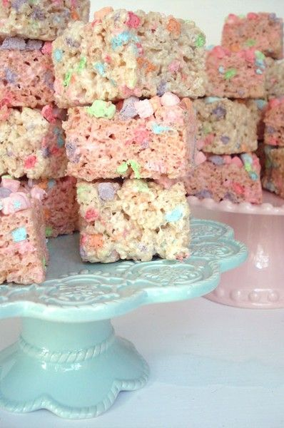 These would be great for a pink or pastel themed birthday party.    Rice Krispie Treats mixed w/ Lucky Charms.