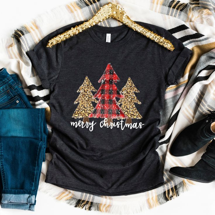 Merry Christmas Shirt Trees Cheetah Print Buffalo Check