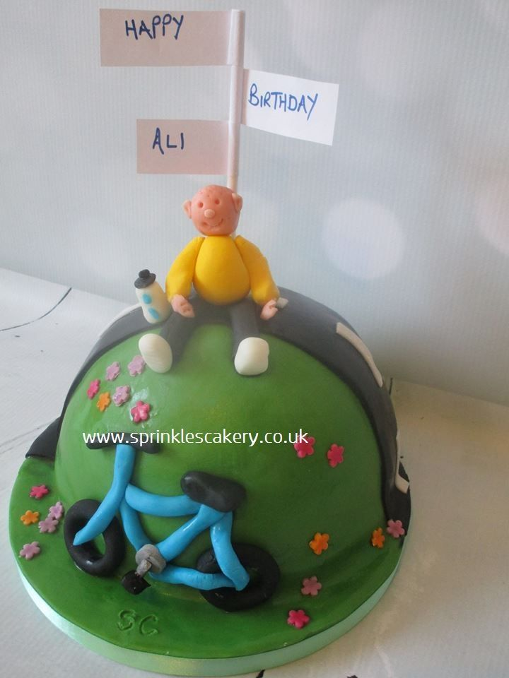 A mini cycling themed cake whipped up last minute for my husband's birthday.