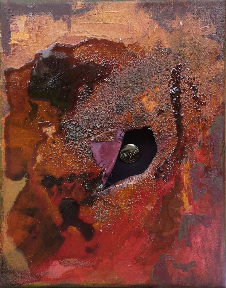 Another secret, sold in 2014. 30x40cm, 2014, acryl, sand, resin and button.  Author: Anna Korpyta #hole #informel #secret #intimacy #painting #abstract #abstractpainting http://korpyta.com