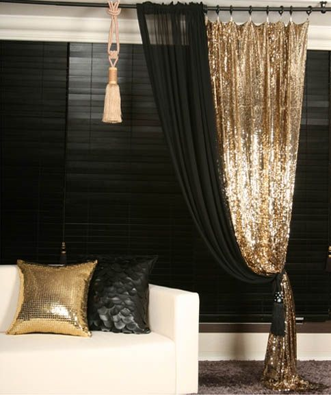Gold sequins beaded curtain drapery panel room divider - Black and gold living room curtains ...