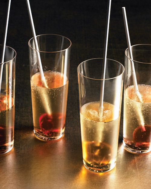 liquer lollipops - fun flavored lollipops in glasses of champagne - recipe from Martha Stewart