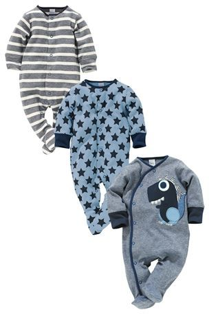 Buy Blue Dinosaur Sleepsuits Three Pack (0mths-2yrs) from the Next UK online shop