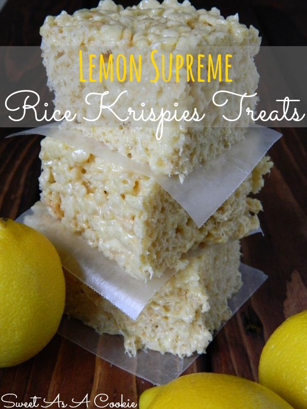 Lemon Supreme Rice Kripsies Treats | A delicious rice krispies treat jam packed with lemon flavor www.sweetasacookie.com #lemon #ricekrispie...