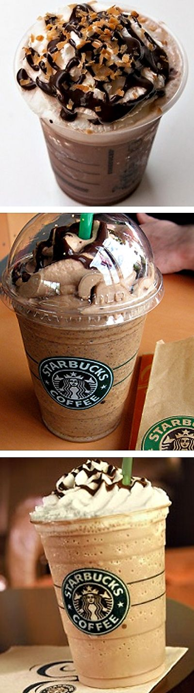 """8 drinks from starbuck's """"secret menu"""" yum! Im definitely trying the snickers and thin mint!"""