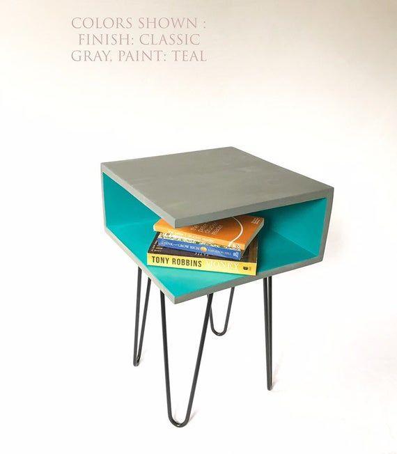 Handmade Rustic Modern Wood Side Table Nightstand Bedside Table