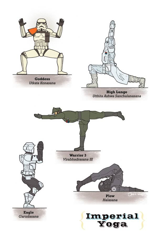 If Star Wars Characters Did Yoga, Here's What It Would Look Like at http://bookretreats.com/blog/darth-vader-does-yoga-27-star-wars-yoga-poses/