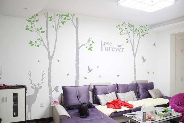 Birch Grote muurstickers woonkamer bank TV achtergrond muurstickers slaapkamer gezellige bed slaapzaal kantoor decoratie wit