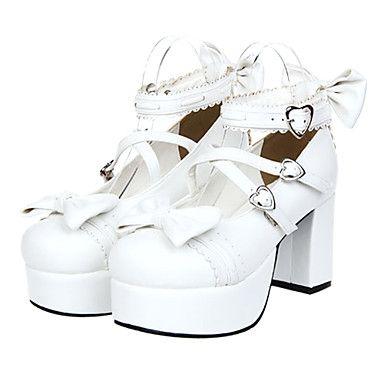 Спереди и сзади бантом Сердце Засов Белый ПУ Сладкая Лолита 8см туфли на высоком каблуке 1122207 2016 – p.4 312,68