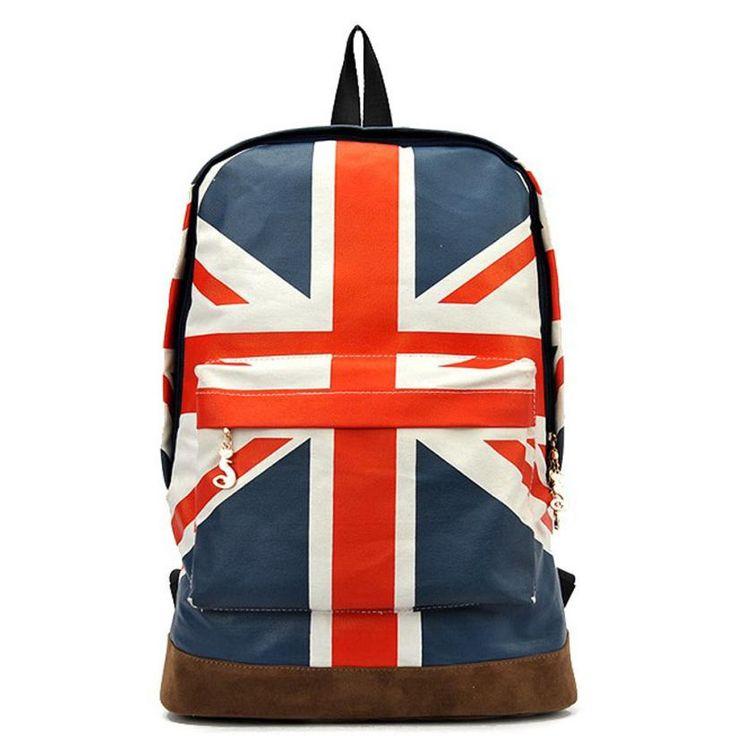 Jack Style Unisex Backpack UK British Flag Union Double Shoulder School Bag Canvas Zipper Rucksuck Mochilas Escolares #7007