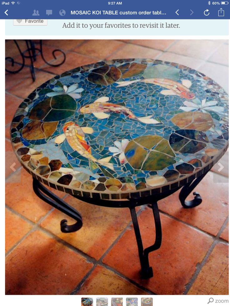 mosaic table top with goldfish