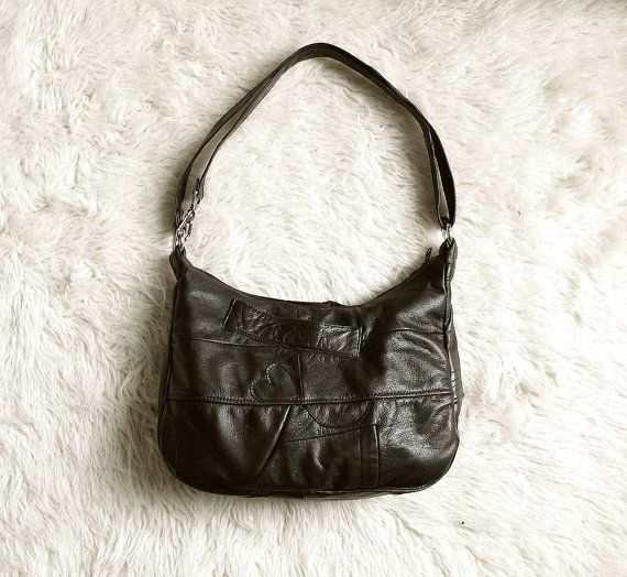 Black  Upcycled Leather Shoulder Bag by bonspielcreation on Etsy, $168 10x15x4.5