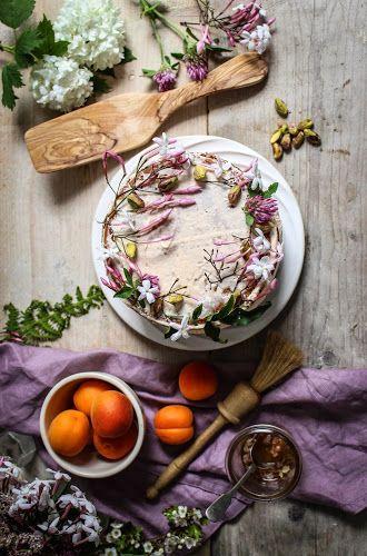 apricot honey and pistachio cake with jasmin honey syrup