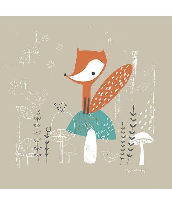 Vos - Canvas poster | Forest | Gras onder je voeten  | Lilipinso | Kinderkamer inrichten in Forest stijl