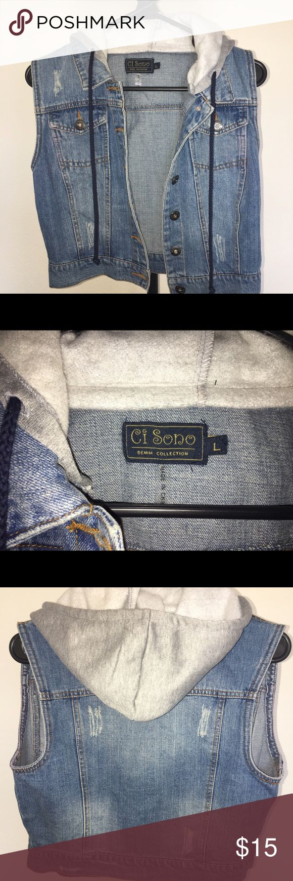 Hooded Jean Vest Brand New never worn, tag shows size large however it does run a bit small. I would say it's more like a medium. Jackets & Coats Vests