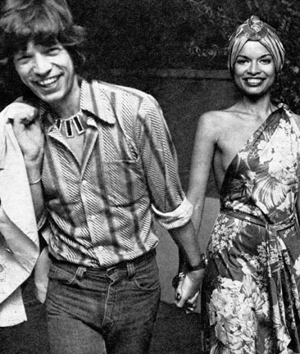 Bianca and Mick Jagger for the Manchester Daily Express, 1970.