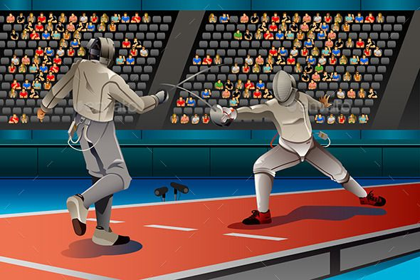 Two Men Fencing in the Competition