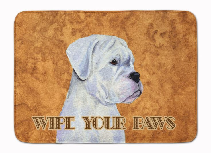 White Boxer Wipe your Paws Machine Washable Memory Foam Mat SS4887RUG