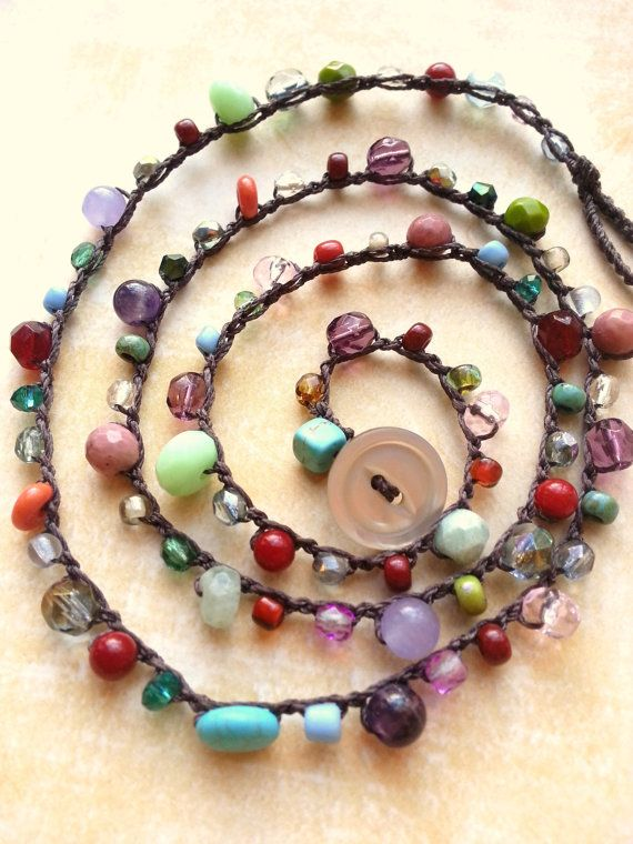Colorful Beaded Crochet Necklace Bohemian Chic by TamiLopezDesigns, $33.00