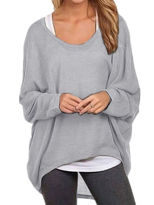 Yidarton Womens Tops Long Sleeve Batwing T Shirts Oversize Tops Sexy Cold Shoulder Bardot Tops(Grey M)