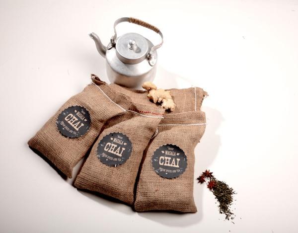 Masala Chai, Tea Lounge by Asha Mody - great use of little burlap bags