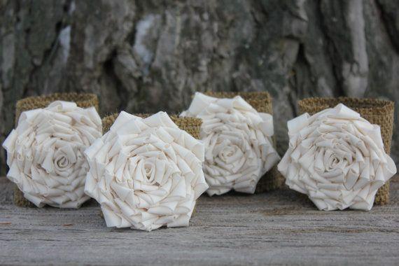 Burlap Flower Napkin Rings - set of four - Wedding Napkin Rings - Table Decor