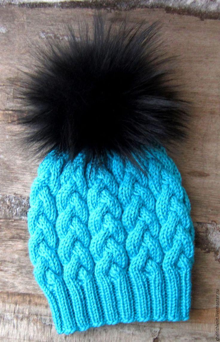 Купить Шапка вязаная бирюза шерсть - бирюзовый, орнамент, шапка вязаная, шапка женская