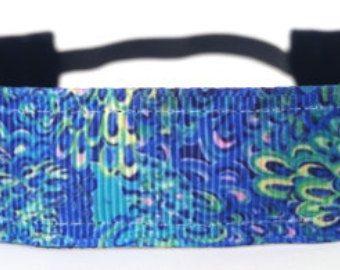 Running Headband - Blue Water Lily - No slip headband - Workout Headband - Sports Headband - Fitness Headband - Yoga Headband - Running Gear