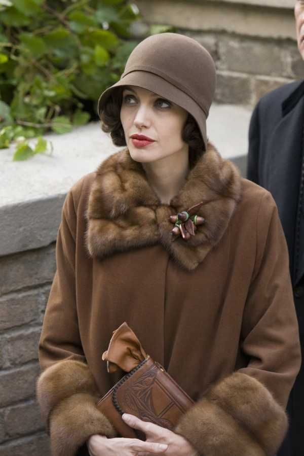 Angelina Jolie sporting a cloche hat in the movie, Changeling