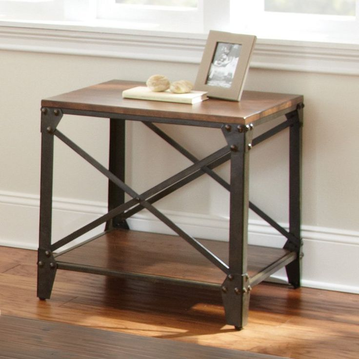 Steve Silver Winston Square Distressed Tobacco Wood and Metal End Table | from hayneedle.com