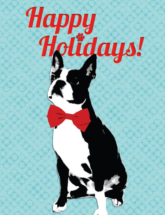 Boston Terrier Holiday Card by SentWell on Etsy, $2.25
