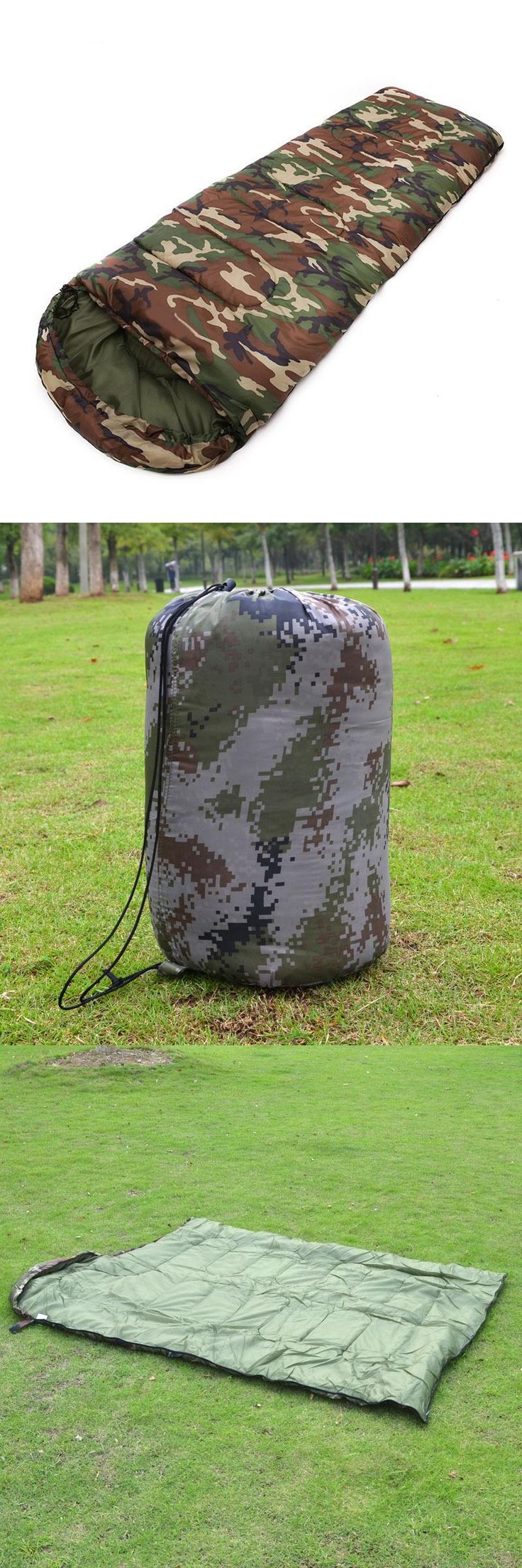 [Visit to Buy] Camouflage Camping sleeping bag 3 season Cotton filling envelope style army hooded Military sleeping bags fishing #Advertisement