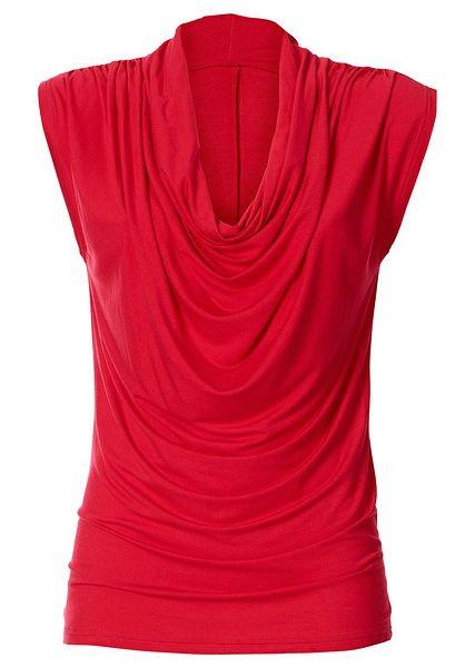 """Elegancki długi shirt z dekoltem """"wodą"""". Ozdobne marszczenie na ramionach. Z bardzo wygodnego materiału. Dł. w rozm. 36/38 ok. 64 cm. Można prać w pralce. Materiał wierzchni: 95% wiskoza, 5% elastan"""