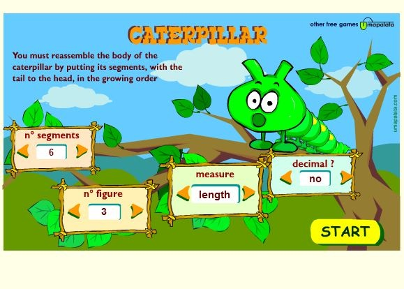 Caterpillar - an entertaining way to learn metric units for length, weight, and capacity